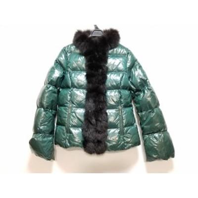 レコパン LesCopains ダウンジャケット サイズ42 L レディース ダークグリーン×黒 冬物【還元祭対象】【中古】20200205