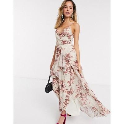 エイソス レディース ワンピース トップス ASOS DESIGN soft layered maxi dress in rustic floral Floral print