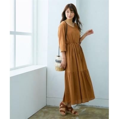 【夏に使える】ティアードロング丈7分袖ワンピース (ワンピース)Dress