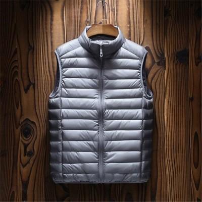 ダウンベスト ベストジャケット フードなし メンズ レディース 軽量 暖かい 防寒 保温 ダウン50% 仕事 通勤 あったか