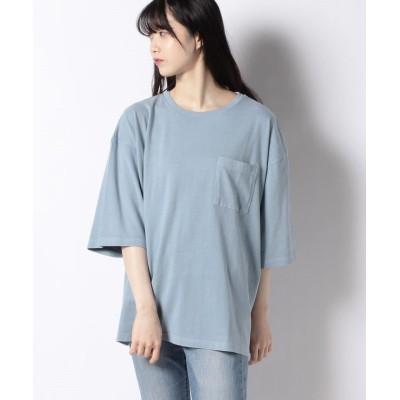【サマンサ モスモス】 ピグメント加工ポケット付Tシャツ レディース ブルー F Samansa Mos2