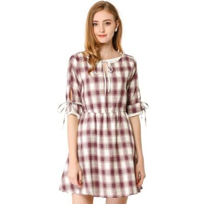 uxcell Allegra K チェック ワンピース ドレス ボウタイネック 半袖 aライン フレア ショート丈 レディース ワインレッド XS