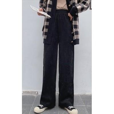 ワイドパンツ ハイウエストパンツ コットン らくちん ロング丈 ゆったり 大きいサイズ 黒 グレー ブルー かっこいい 秋冬 10代 20代 30代