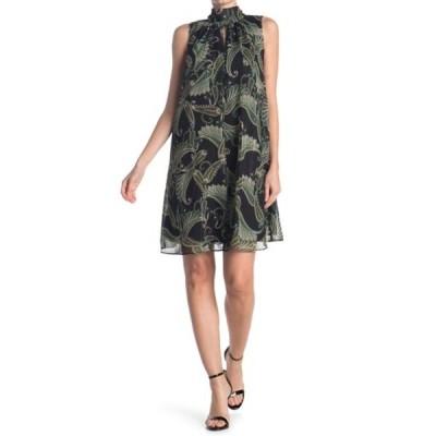 ロンドンタイムス レディース ワンピース トップス Paisley Print High Neck Swing Dress BLK/GREEN