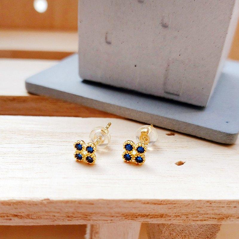 寶藍小花晶鑽925純銀耳環 (禮盒裝) 優雅金色款