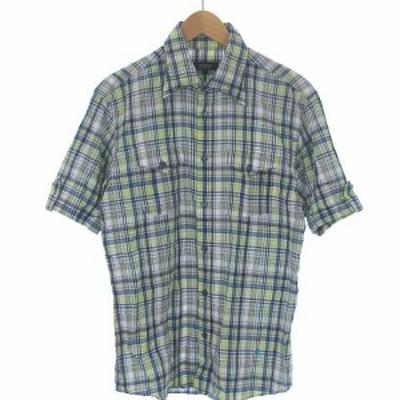 【中古】バーバリーブラックレーベル チェック シャツ ワイヤー衿 ワンポイント ロゴ 刺繍 半袖 マルチカラー 2 メンズ