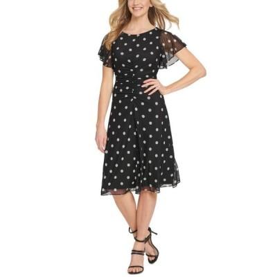 ダナ キャラン ニューヨーク レディース ワンピース トップス Flutter-Sleeve Ruched Dress