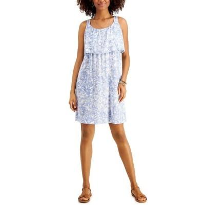 スタイルアンドコー ワンピース トップス レディース Floral-Printed Popover Midi Dress,  Blue Hawaiian