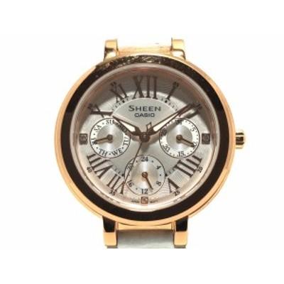カシオ CASIO 腕時計 シーン SHE-3034GLJ レディース 革ベルト シルバー【還元祭対象】【中古】20200723