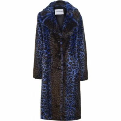 スタンドスタジオ STAND STUDIO レディース コート ファーコート アウター Fanny Acidic Leopard Faux Fur Coat Blue