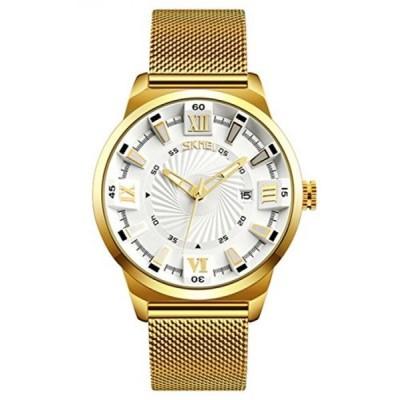 ファンミス 腕時計 メンズウォッチ Fashion Business Men Quartz Watch Waterproof Stainless Steel Mesh Strap Calendar Casual Sport Military (Gold White)