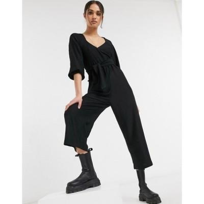 エイソス レディース ワンピース トップス ASOS DESIGN wrap front textured smock jumpsuit in black