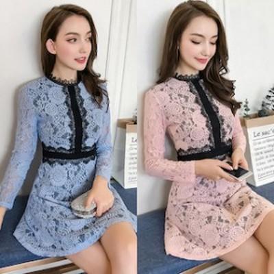 ミニドレス キャバドレス フレアースカート パーティードレス バイカラー ミニ mini ドレス 【T002-HALN1041】