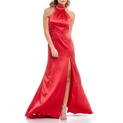 ビーダーリン レディース ワンピース トップス Sleeveless Mock-Neck Bow-Back Satin Long Dress