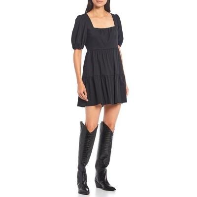 ジアーニビニ レディース ワンピース トップス Hayden Square Neck Puff Sleeve Tiered Babydoll Mini Dress Black