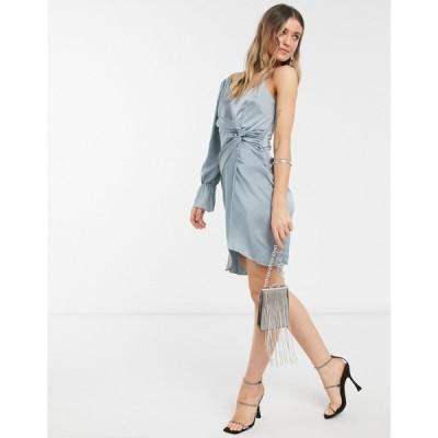 リトルミストレス レディース ワンピース トップス Little Mistress one shoulder twist detail satin dress in teal gray Grey