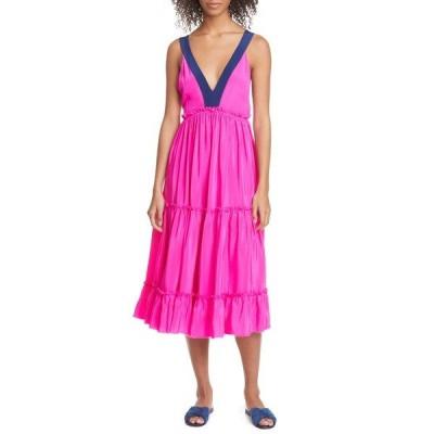 ル シュペルブ ワンピース トップス レディース Bougainvillea Tiered Silk Midi Dress Hot Raspberry