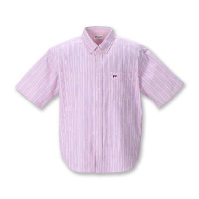 【新作・新着商品!】オックスストライプB.D半袖シャツ 大きいサイズ メンズ H by FIGER  ピンク
