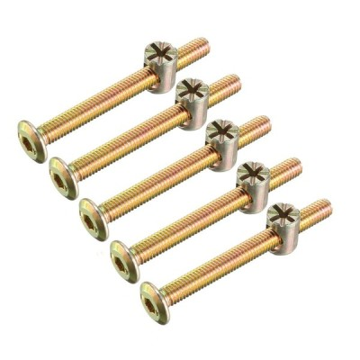 uxcell 家具ボルトナット M6x60mm 六角穴付ボルト バレルナッツ プラスマイナス 亜鉛めっき 15セット入り