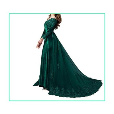 LEJY Vintage Long Sleeves Velvet Evening Gown Off The Shoulder Wedding Dress with Detachable Train Green-4並行輸入品