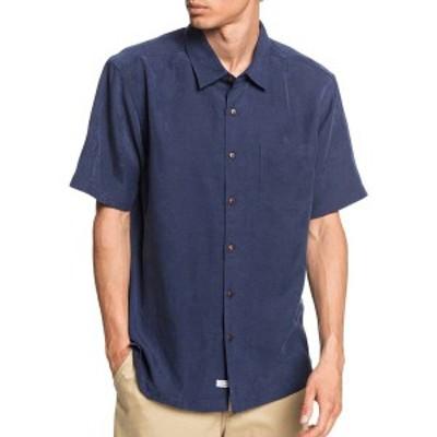 クイックシルバー メンズ シャツ トップス Quiksilver Men's Waterman Kelpies Bay Short Sleeve Button Up Shirt Navy Iris