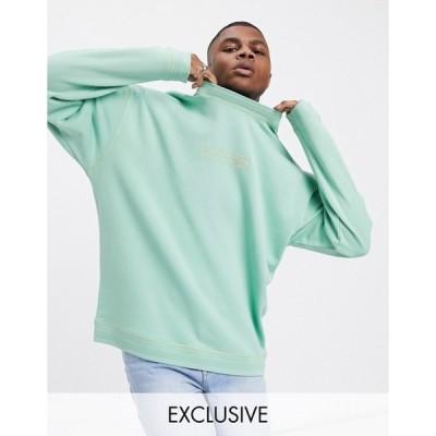 クルックドタン メンズ シャツ トップス Crooked Tongues sweatshirt in green with tonal logo