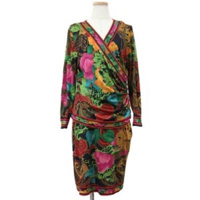 LEONARD レオナール ドレス セットアップ 長袖 膝丈 Vネック サイドジップ 総柄 花柄 フラワー ウール シルク ブラック×レッド×ピンク