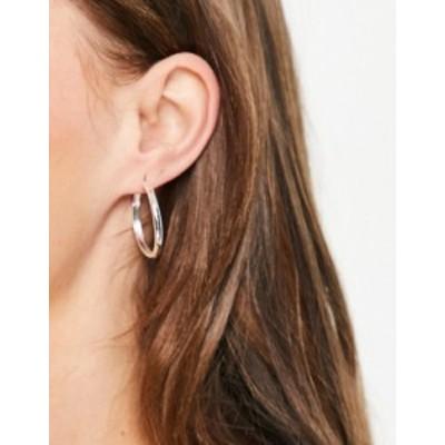 エイソス レディース ピアス・イヤリング アクセサリー ASOS DESIGN silver plated 25mm hinge hoop earring Silver