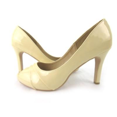 【中古】 menue メヌエ パンプス オープントゥ ヒール エナメル パテントレザー アイボリー系 25.5cm 靴  レディース 【ベクトル 古着】