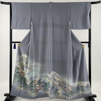 色留袖 美品 名品 落款あり 一つ紋 風景 松竹梅 ぼかし 灰紫 袷 身丈159.5cm 裄丈65cm M 正絹 中古