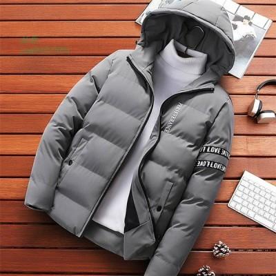 メンズ ミディアム ダウンコート 防寒 中綿コート 綿入れ 男子 ロング アウター 上着 ジャケット アウトドア フード