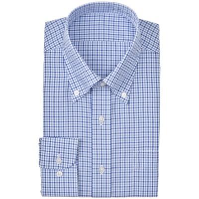 メンズ 【在庫限り】セブンプレミアム 超形態安定青チェックボタンダウンドレスシャツ(すっきりシルエット) ライトブルー 首回り43cm×裄丈84cm