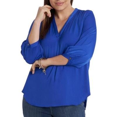 ヴィンスカムート レディース シャツ トップス Plus Size 3/4 Sleeve V-Neck Rumple Blouse Cobalt Blue