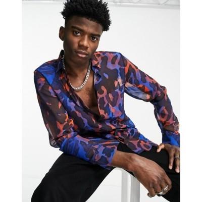 エイソス メンズ シャツ トップス ASOS DESIGN longline curved hem sheer animal print shirt in electric blue