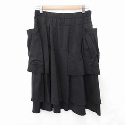 【中古】未使用品 イークラット スカート フレアースカート ロング丈 オーバースカート ポケット 黒 42 レディース