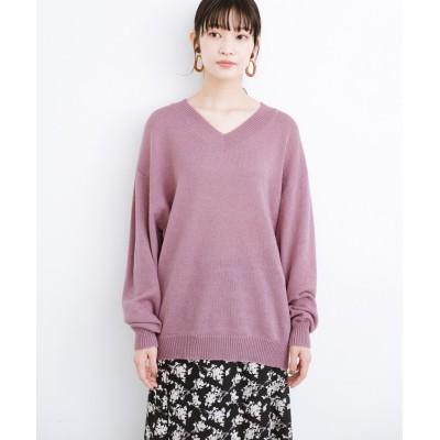 【ハコ】 毎日着たくなる!パッと着るだけでゆるっと女っぽが叶うシンプルVネックニット レディース ピンク 1 haco!