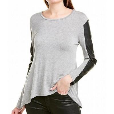 レディース 衣類 トップス Women's Top Large Knit Faux Leather Trim L ブラウス&シャツ