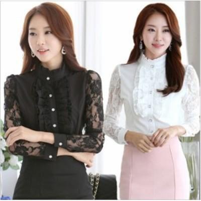 2色 フロントフリル 袖薔薇レース とてもエレガントな 長袖 スタンドカラー ブラウス OLシャツ
