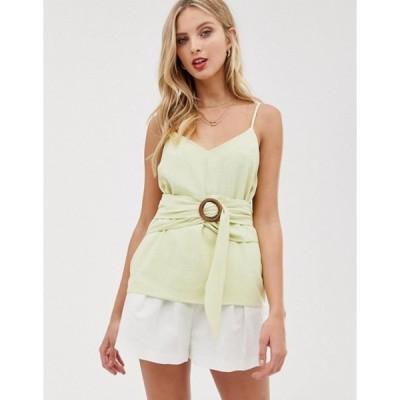 エイソス レディース シャツ トップス ASOS DESIGN linen cami with wrap around waist and buckle detail