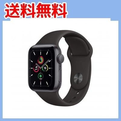 最新 Apple Watch SE(GPSモデル)- 40mmスペースグレイアルミニウムケースとブラックスポーツバンド ・・・