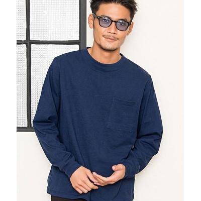 【シルバーバレット】 Goodwearヘビーウェイトポケット付きビッグシルエットクルーネック長袖Tシャツ メンズ ネイビー S SILVER BULLET