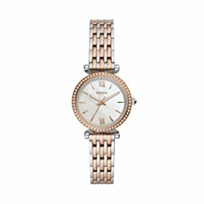 Fossil レディース Carlie ミニクオーツ ステンレス 3針 腕時計 カラー:2トーン シルバー/ローズゴールド (モデル:ES4649)