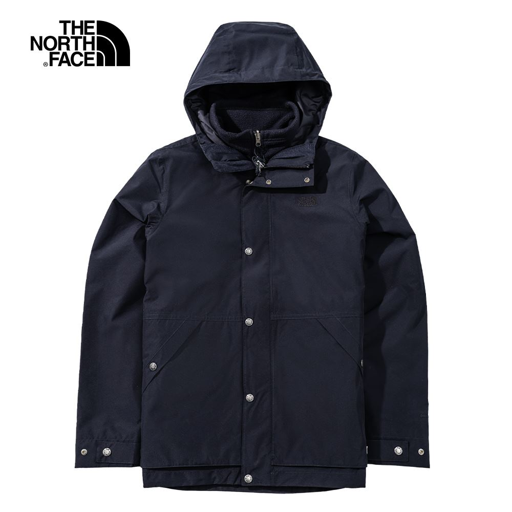 The North Face北面男款深藍色防水透氣連帽三合一外套 4NGYTE3