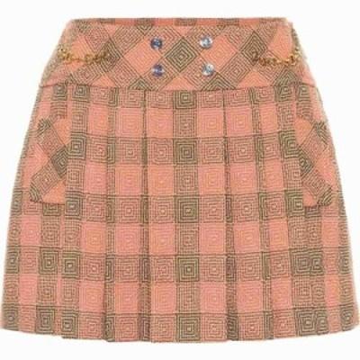 グッチ Gucci レディース ミニスカート スカート Pleated Damier Wool Miniskirt Orange/Brown/Mc