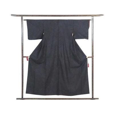 リサイクル着物 紬 正絹黒地紺横双絣袷大島紬着物