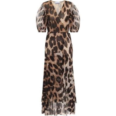 ガニー Ganni レディース ワンピース ラップドレス ワンピース・ドレス Printed mesh wrap dress Maxi Leopard
