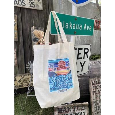 ハワイアン・エコバッグ(サンセット&ウェーブ) ■ アメリカン雑貨 アメリカ雑貨