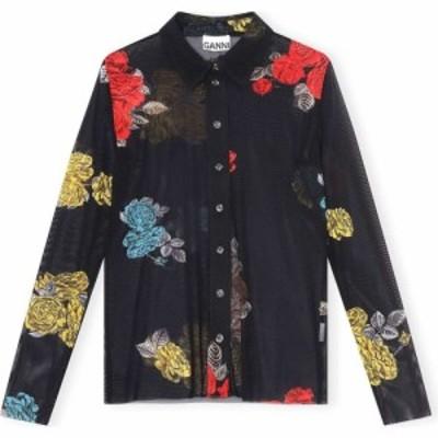 ガニー GANNI レディース ブラウス・シャツ トップス Floral Print Mesh Blouse Black