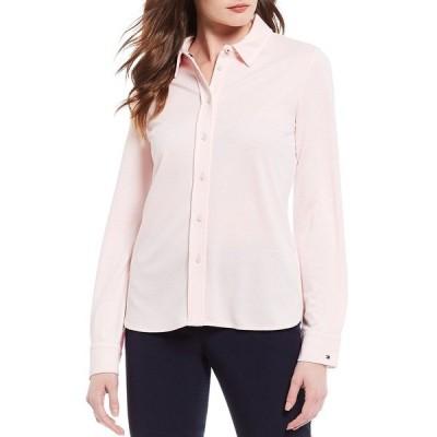 トミー ヒルフィガー レディース シャツ トップス Knit Pique Button Down Long Sleeve Shirt Ballerina Pink