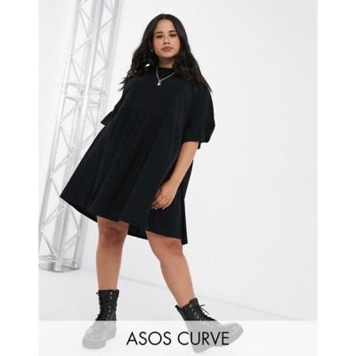 エイソス レディース ワンピース トップス ASOS DESIGN Curve super oversized frill sleeve smock dress in black